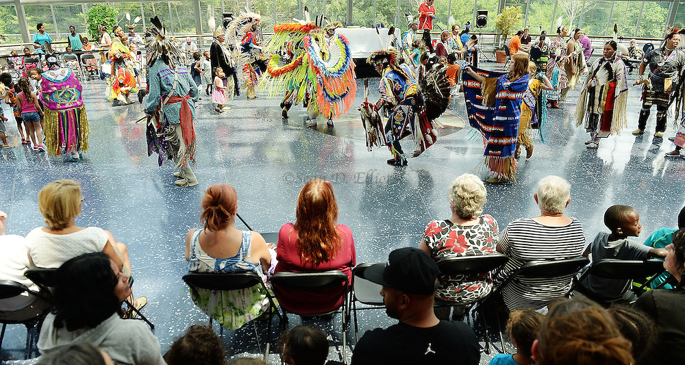 7/7/16 :: REGION :: STAND ALONE :: Native dancers take the floor for the intertribal dance to open the exhibition at the annual Educational Powwow at the Mashantucket Pequot Museum and Research Center Thursday, July 7, 2016. The Educational Powwow is a narrated exhibition showcasing Native American dancers and the significance of this cultural gathering for indigenous people. The event was free with museum admission. Eastern woodland cuisine was offered in the restaurant and native artists were set up demonstrating and selling their crafts. (Sean D. Elliot/The Day)