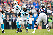 CHICAGO, IL - OCTOBER 22:  Matt Kalil #75 of the Carolina Panthers drops back to pass block during a game against the Chicago Bears at Soldier Field on October 22, 2017 in Chicago, Illinois.  The Bears defeated the Panthers 17-3.  (Photo by Wesley Hitt/Getty Images) *** Local Caption *** Matt Kalil