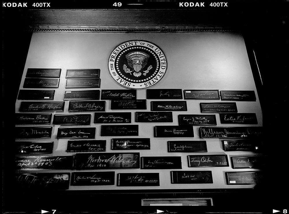 The signatures of former U.S. Presidents are seen on a wall at the press club in Milwaukee, Wisconsin, November 11, 2015. Photo by Jim Young