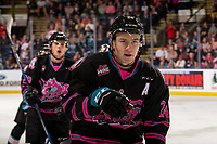 KELOWNA, BC - SEPTEMBER 21:  Kyle Topping #24 of the Kelowna Rockets skates to the bench to celebrate a goal against the Spokane Chiefs at Prospera Place on September 21, 2019 in Kelowna, Canada. (Photo by Marissa Baecker/Shoot the Breeze)