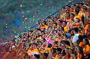 Bishop Gorman fans blast off confetti and smoke during their game against Brophy Prep 44-0.