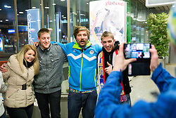 Filip Flisar at reception of Slovenia team arrived from Winter Olympic Games Sochi 2014 on February 25, 2014 at Airport Joze Pucnik, Brnik, Slovenia. Photo by Vid Ponikvar / Sportida