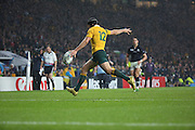 Australia's Matt Giteau kicking the ball into touch to end a really closely fought game during the Rugby World Cup Quarter Final match between Australia and Scotland at Twickenham, Richmond, United Kingdom on 18 October 2015. Photo by Matthew Redman.