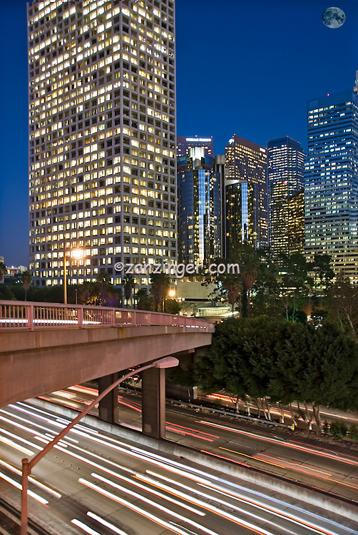 US 101, Harbor Freeway, LA, Skyline, Dusk, Los Angeles, California, USA, Car trails of the freeways of downtown Los Angeles at night