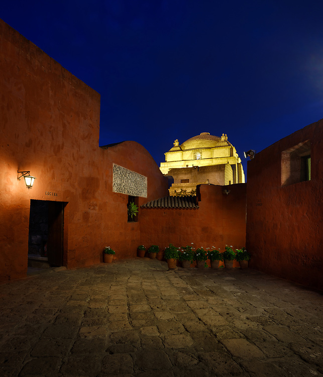 AREQUIPA, PERU - CIRCA SEPTEMBER 2019: Interior view of  the Monastery of Santa Catalina in Arequipa at night. Arequipa is the Second city of Perú by population with 861,145 inhabitants and is the second most industrialized and commercial city of Peru.
