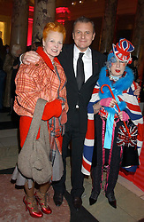 Left to right, VIVIENNE WESTWOOD, JEAN CHARLES de CASTELBAJAC and ANNA PIAGGI at a reception to celebrate the opening of Anna Piaggi Fashion-ology and Popaganda: The Fashion and Style of JC de Castelbajac at the V&A Museum, London on 31st January 2006.<br /><br />NON EXCLUSIVE - WORLD RIGHTS
