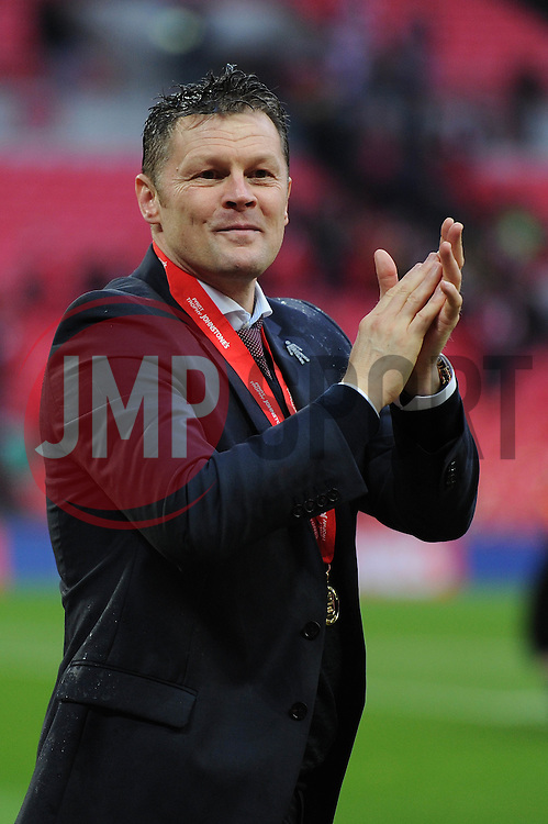 Bristol City manager, Steve Cotterill applauds fans as they beat Walsall in the Johnstone Paint trophy - Photo mandatory by-line: Dougie Allward/JMP - Mobile: 07966 386802 - 22/03/2015 - SPORT - Football - London - Wembley Stadium - Bristol City v Walsall - Johnstone Paint Trophy Final