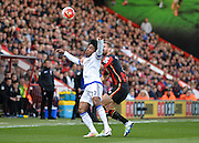 Bournemouth Defender Simon Francis (2) and Chelsea Midfielder Willian (22) during the Barclays Premier League match between Bournemouth and Chelsea at the Goldsands Stadium, Bournemouth, England on 23 April 2016. Photo by Adam Rivers.