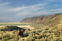 Hart Mountain National Antelope Refuge Oregon. Lower slopes of mountain exhibit bathtub ring of ancient lakebed level.