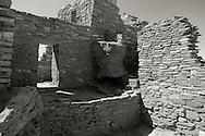 Platinum-toned black & white section of Wupatki Pueblo - Wupatki National Monument, AZ