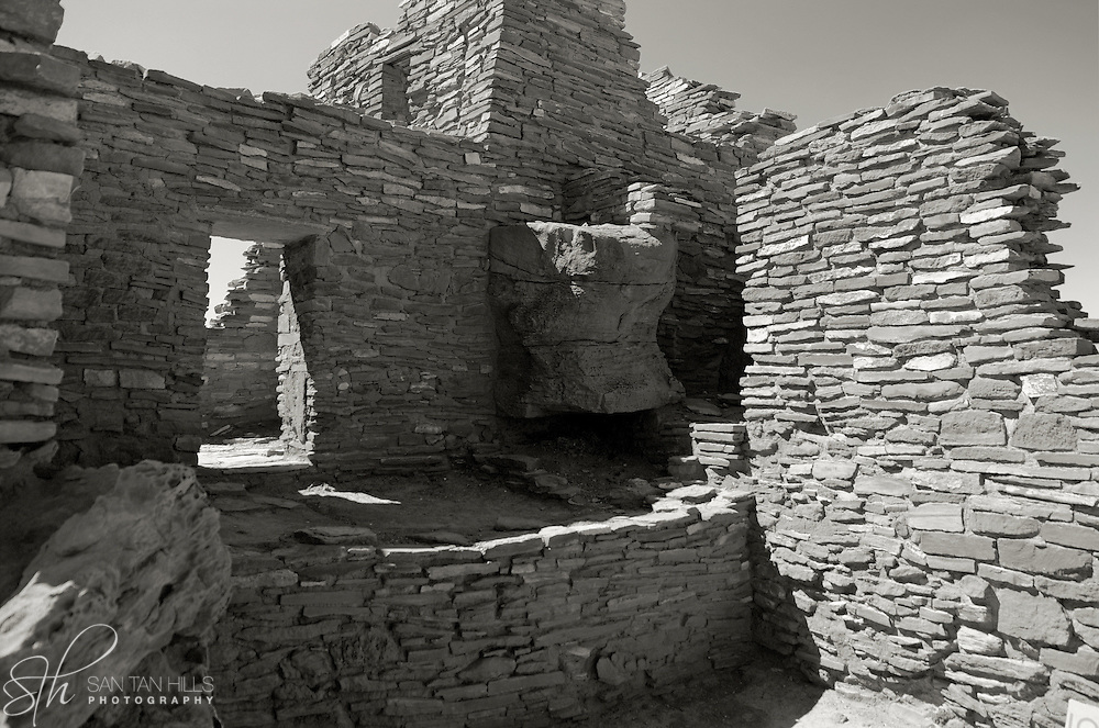 Platinum-toned black & white section of Wupatki Pueblo - Wupatki National Monument, AZ