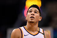 Oct 25, 2017; Phoenix, AZ, USA; Phoenix Suns guard Devin Booker (1) looks up on the court during the game against the Utah Jazz at Talking Stick Resort Arena. Mandatory Credit: Jennifer Stewart-USA TODAY Sports