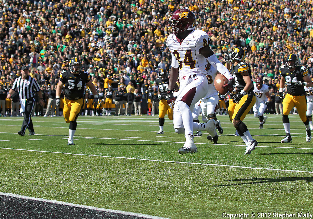 September 22 2012: Central Michigan Chippewas wide receiver Titus Davis (84) scores on a 13 yard touchdown reception during the second half of the NCAA football game between the Central Michigan Chippewas and the Iowa Hawkeyes at Kinnick Stadium in Iowa City, Iowa on Saturday September 22, 2012. Central Michigan defeated Iowa 32-31.