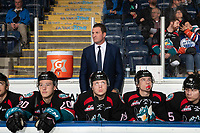 KELOWNA, CANADA - NOVEMBER 23: Kelowna Rockets' head coach, Adam Foote stands on the bench against the Victoria Royals  on November 23, 2018 at Prospera Place in Kelowna, British Columbia, Canada.  (Photo by Marissa Baecker/Shoot the Breeze)
