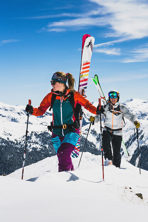 Day 5 - Lynsey Dyer and Chris Davenport boot to a backcountry ski line in the San Juan Mountains, Colorado.