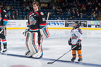 KELOWNA, CANADA - DECEMBER 3: Jake Morrissey #31 of Kelowna Rockets and The Pepsi Save-on Foods Player of the game lines up against the Saskatoon Blades on December 3, 2014 at Prospera Place in Kelowna, British Columbia, Canada.  (Photo by Marissa Baecker/Shoot the Breeze)  *** Local Caption *** Pepsi Save On Foods Player; Jake Morrissey;
