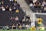 Milton Keynes - Tuesday, August 12th, 2008: Sam Baldock (out of picture) of MK Dons scores his side's first goal 339 during the Carling League Cup First Round match at Stadium MK, Milton keynes. (Pic by Mark Chapman/Focus Images)