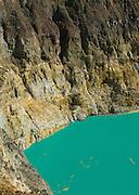 Wall and lake detail, Kelimutu, Flores