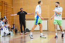 Vujovic Veselin head coach of Slovenia with players during friendly match between Slovenia and Montenegro in Skofja Loka, Slovenia on 8th of June, 2017 .Photo by Grega Valancic / Sportida