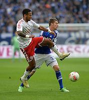 FUSSBALL   1. BUNDESLIGA   SAISON 2012/2013    31. SPIELTAG FC Schalke 04 - Hamburger SV          28.04.2013 Dennis Aogo (li, Hamburger SV) gegen Roman Neustaedter (re, FC Schalke 04)