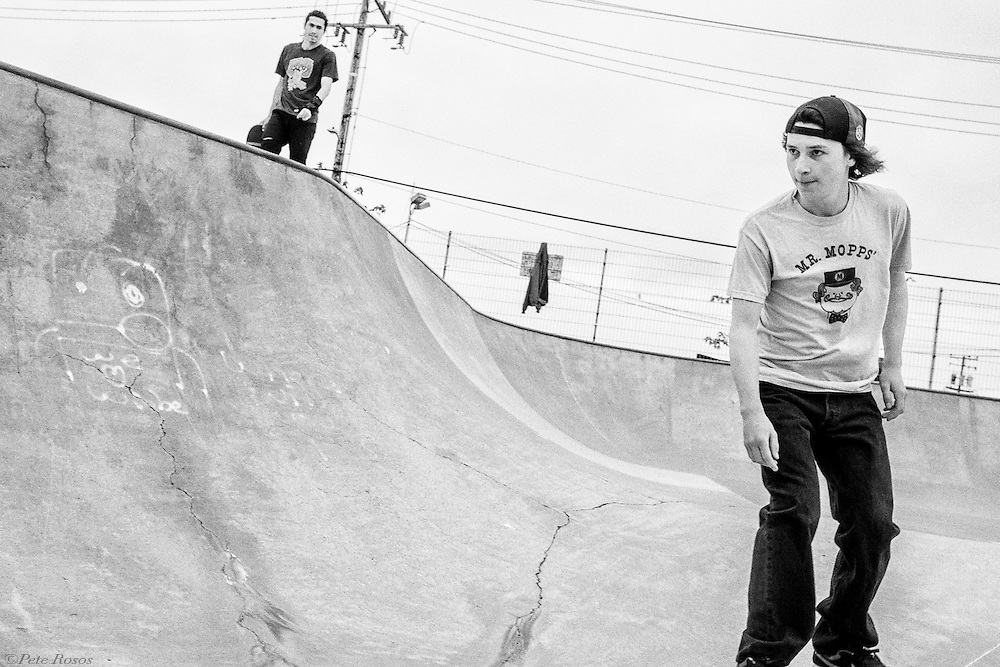Eli watches Morgan's approach Skaters Elad, Eli, and Morgan skating at the Berkeley Skate Park. Shot for Kapital, Japan (a denim company), for a web article on black denim.