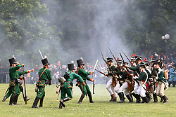 May 20, 2017 - Bratislava, Slovakia - People reenact scenes to commemorate the 1809 battle of Pressburg, in Janko Kral Park, in Bratislava's city center. The park was transformed into the 19th Century camps of Austro-Hungarian and French armies, with hundreds of soldiers reenacting scenes to the commemorate battle of Pressburg. (Credit Image: © Andrej Klizan/Xinhua via ZUMA Wire)