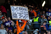 Cleveland Browns fans holds up a Go Browns sign during the International Series match between Cleveland Browns and Minnesota Vikings at Twickenham, Richmond, United Kingdom on 29 October 2017. Photo by Jason Brown.