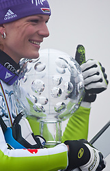 19.03.2011, Pista Silvano Beltrametti, Lenzerheide, SUI, FIS Ski Worldcup, Finale, Lenzerheide, PODIUM, im Bild Gesamtweltcup Siegerin, Damen, Maria Riesch (GER) // Overall Weltcup Winner, Women, Maria Riesch (GER) during Podium, at Pista Silvano Beltrametti, in Lenzerheide, Switzerland, 19/03/2011, EXPA Pictures © 2011, PhotoCredit: EXPA/ J. Feichter