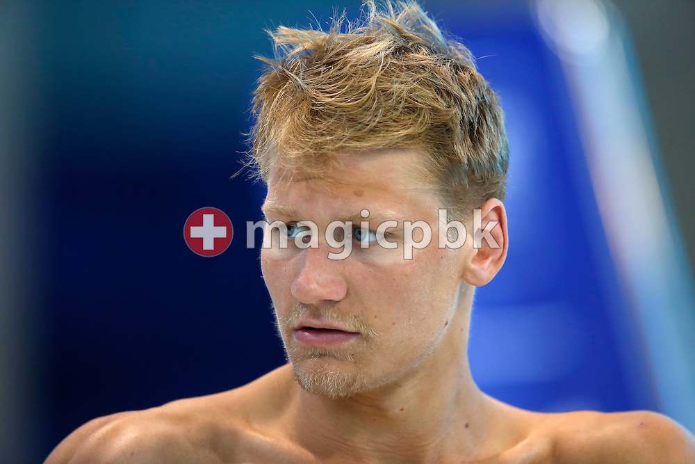 Viktor B. BROMER of Denmark looks on during a training session one day prior to the start of the LEN European Swimming Championships held at the London Aquatics Centre in London, Great Britain, Sunday, May 15, 2016. (Photo by Patrick B. Kraemer / MAGICPBK)