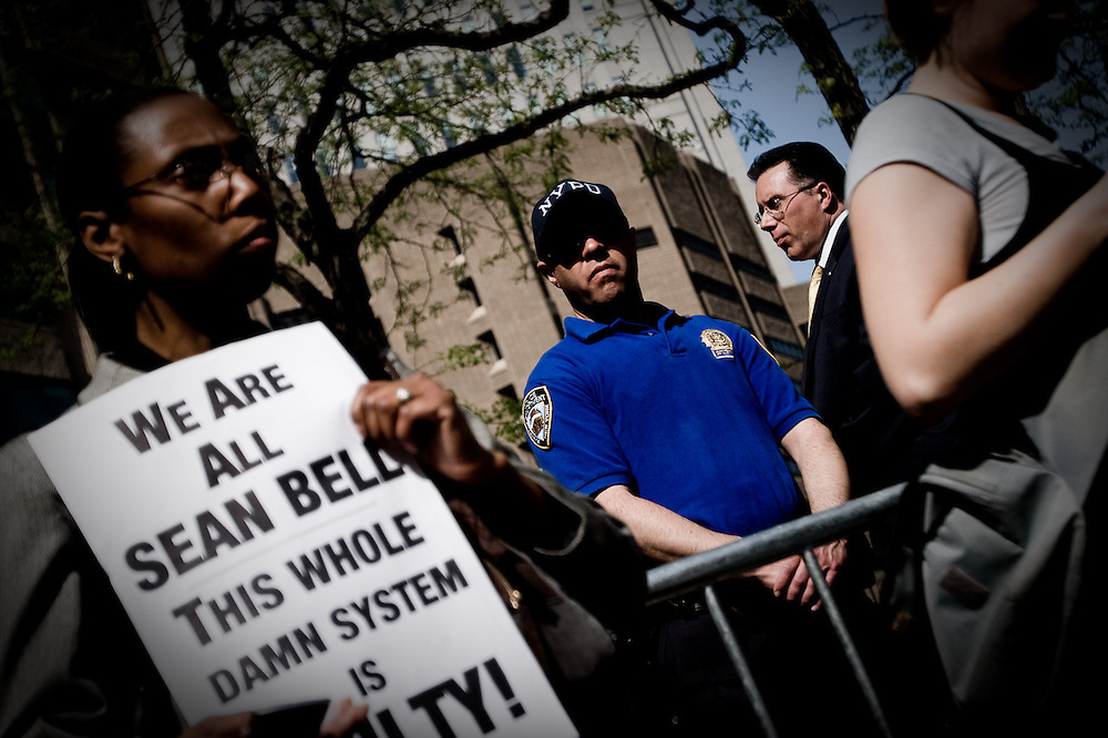 Protesters gather at One Police Plaza in response to Rev. Al Sharpton's call for civil disobedience in the aftermath of the killing of Sean Bell, New York.  Similar protests occurred at key transit points throughout Manhattan and Brooklyn.