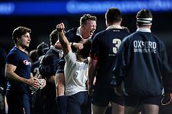 Oxford University players celebrate at the final whistle - Mandatory byline: Patrick Khachfe/JMP - 07966 386802 - 10/12/2015 - RUGBY UNION - Twickenham Stadium - London, England - Oxford University v Cambridge University - The Varsity Match.