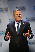Republican presidential candidate Gov. Jeb Bush speaks to supporters at the Heritage Foundation Take Back America candidate forum September 18, 2015 in Greenville, South Carolina. The event features 11 presidential candidates but Trump unexpectedly cancelled at the last minute.