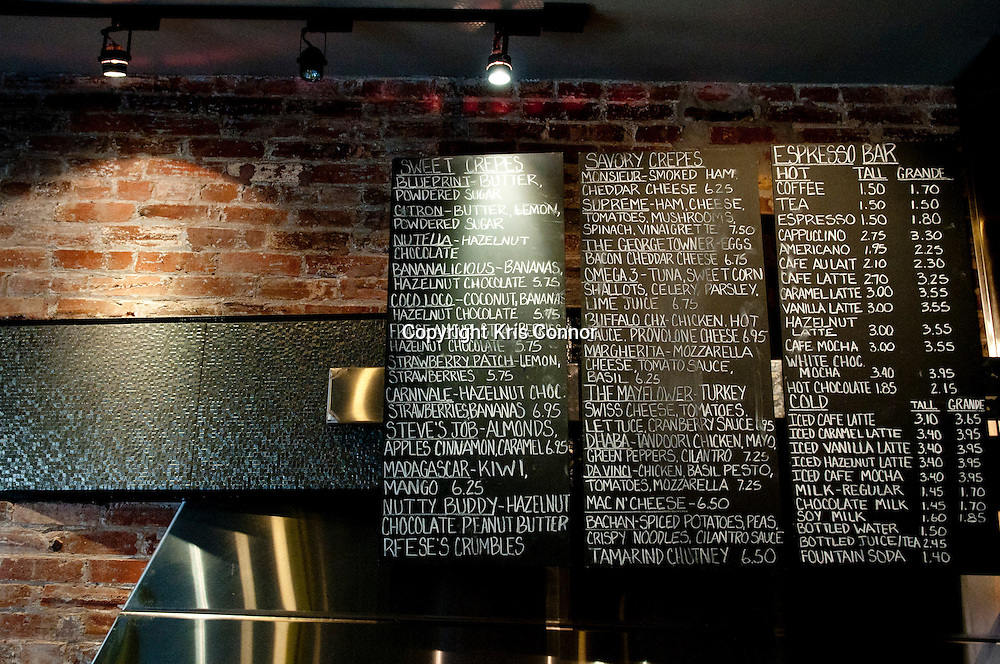 A view of the menu at Crepe Amour in Georgetown. Photo by Kris Connor