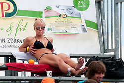 Hot girl at Beachmaster 2011 tournament for Slovenian BeachTour on July 22, 2011, in Ptuj, Slovenia. (Photo by Matic Klansek Velej / Sportida)