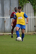 Hollands and Blair Captain Stuart West moves the ball out of defence during the Southern Counties East match between AFC Croydon Athletic and Hollands & Blair at the Mayfield Stadium, Croydon, United Kingdom on 10 October 2015. Photo by Mark Davies.