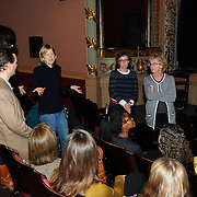 Women Fully Clothed comedians Jane Eastwood, Robin Duke, Kathryn Greenwood, and Teresa Pavlinek (R to L Standing) speak with members of Arts In Reach during a Q/A session at The Music Hall in Portsmouth, NH