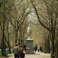 Alexander Hamilton, co-author of the Federalist Papers, sculpted by William Rimmer. The first statue placed on the mall. 1865.