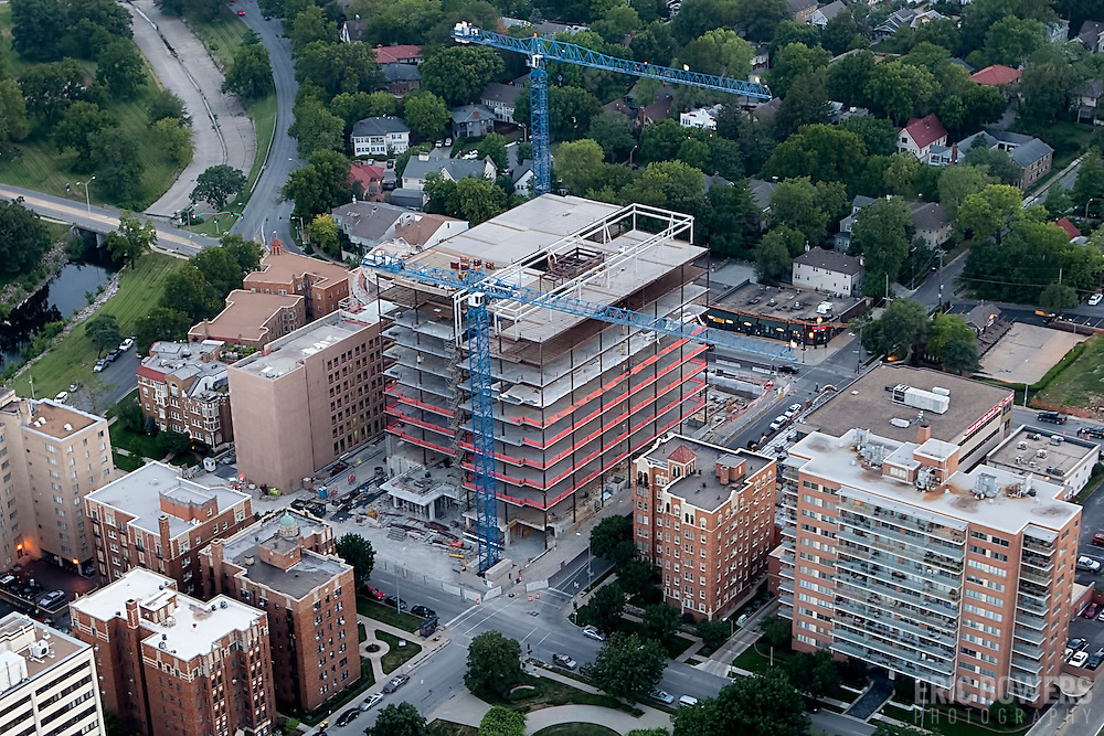 "Aerial photo of the former West Edge site, now ""Plaza Vista"" also known as 4840 Roanoke, the new headquarters for the Polsinelli Shughart law firm under construction by general contractor JE Dunn on the Country Club Plaza in Kansas City, Missouri."