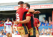 Greg Bird (R) of  Catalans Dragons  celebrates scoring the try with team mate Mickael Simon (L) against Wakefield Trinity during the Betfred Super League match at Mobile Rocket Stadium, Wakefield<br /> Picture by Stephen Gaunt/Focus Images Ltd +447904 833202<br /> 07/07/2018