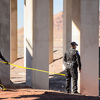 Gallup police tape of the scene where human remains were found near Route 66 in Gallup Wednesday.
