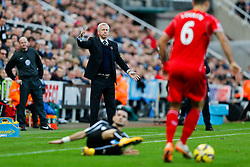 Newcastle United Manager Alan Pardew gestures as Dejan Lovren of Liverpool is in action - Photo mandatory by-line: Rogan Thomson/JMP - 07966 386802 -01/11/2014 - SPORT - FOOTBALL - Newcastle, England - St James' Park - Newcastle United v Liverpool - Barclays Premier League.