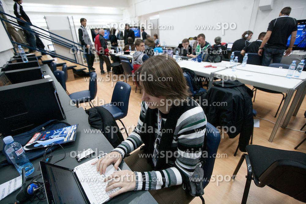 Media work room during  Preliminary Round of 10th EHF European Handball Championship Serbia 2012, on January 15, 2012 in Arena Pionir, Belgrade, Serbia.  (Photo By Vid Ponikvar / Sportida.com)