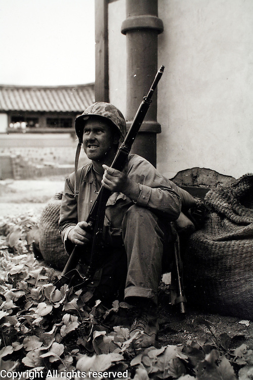 "1stMarDiv.Korea.27Sep50..""Manhunt! With intensity of life-and-death fight for Seoul a Marine spots a communist sniper and gets ready to return fire."