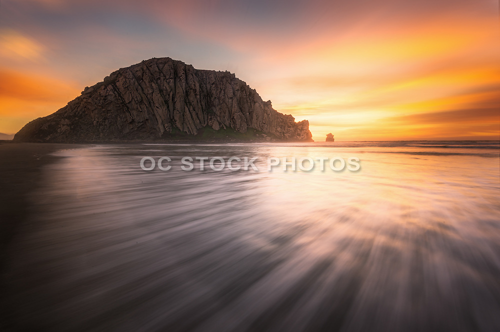 Morro Rock at Sunset in Morro Bay California