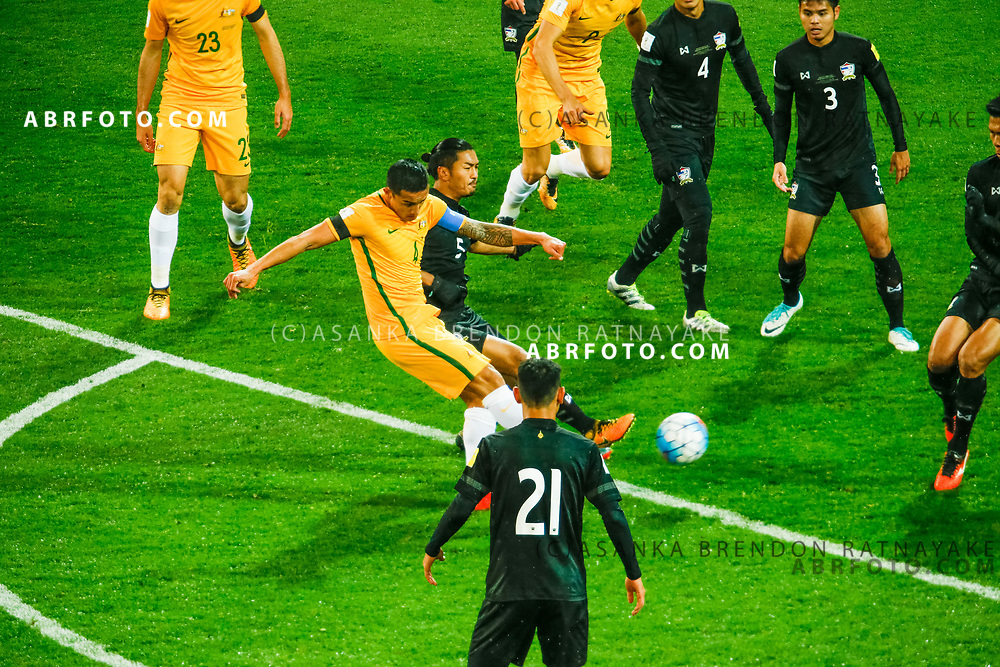 MELBOURNE, AUSTRALIA - SEPTEMBER 5 : Tim Cahill of the Australia Socceroos has a shot on goal  during the Stage 3 Group World Cup Football Qualifiers between Australia Vs Thailand at the Melbourne Rectangular Stadium, Melbourne, Australia 5 September 2017.