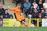 AFC Wimbledon goalkeeper George Long (1) goal kick during the EFL Sky Bet League 1 match between AFC Wimbledon and Plymouth Argyle at the Cherry Red Records Stadium, Kingston, England on 21 October 2017. Photo by Matthew Redman.