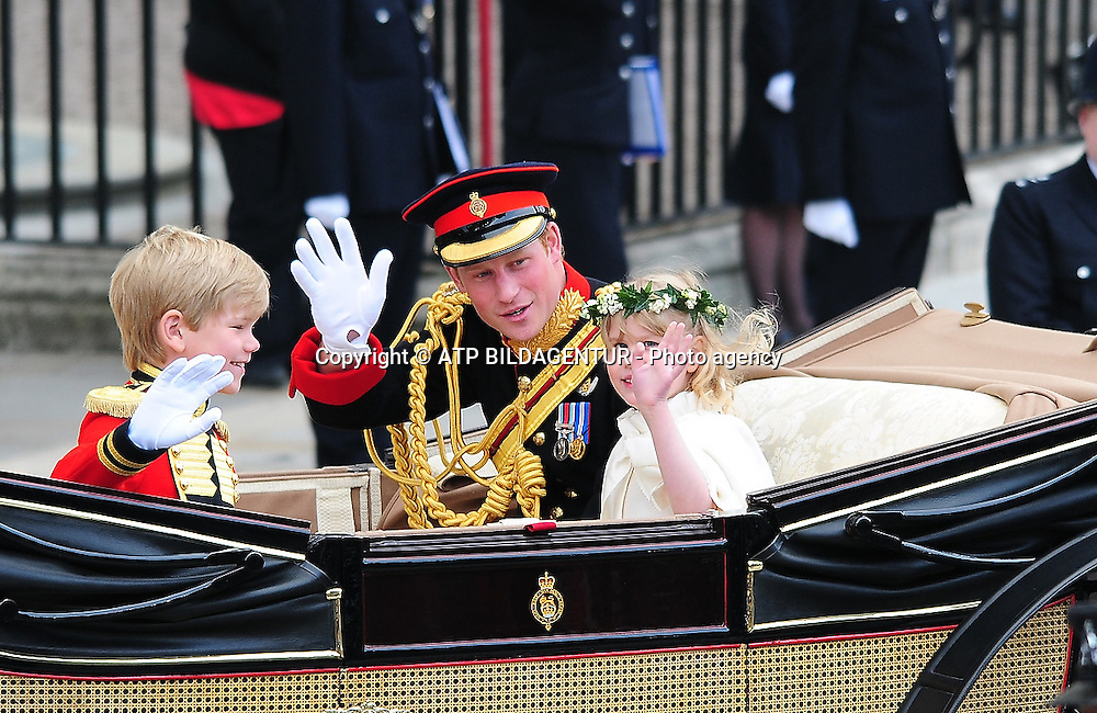 LONDON, ENGLAND - APRIL 29: <br /> Prince Harry and Lady Louise Windsor - (L) Tom Pettitier - <br /> The Wedding of Prince William and Catherine Middleton - London, England - 29.04.11<br /> Mandatory Credit: &copy; ATP Anthony Stanley