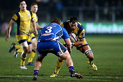Matt Cox of Worcester Warriors runs at Lloyd Fairbrother of Newport Gwent Dragons - Mandatory by-line: Robbie Stephenson/JMP - 16/12/2016 - RUGBY - Rodney Parade - Newport, Wales - Newport Gwent Dragons v Worcester Warriors - European Rugby Challenge Cup