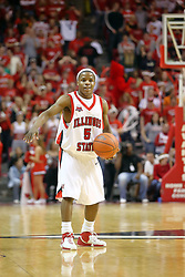 """03 February 2007: Keith """"Boo"""" Richardson. In what is locally referred to as the War on Seventy Four, the Bradley Braves defeated the Illinois State University Redbirds 70-62 on Doug Collins Court inside Redbird Arena in Normal Illinois."""