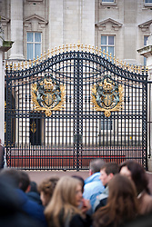 Crowd in front of the Buckingham Palace gate, London